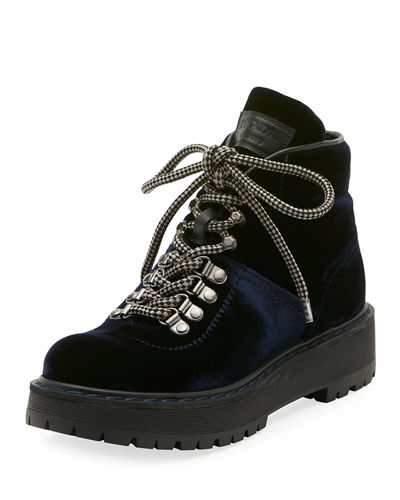 Velvet Lace-Up Combat Boot