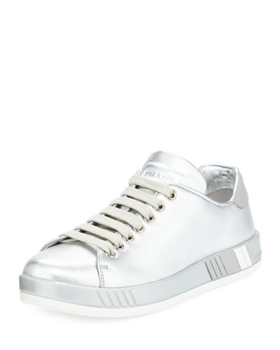 Metallic Leather Lace-Up Platform Sneaker