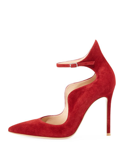 Scalloped Suede Ankle-Wrap Pump