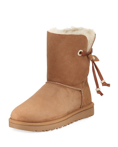 Maia Pompom Brush Suede Short Boot