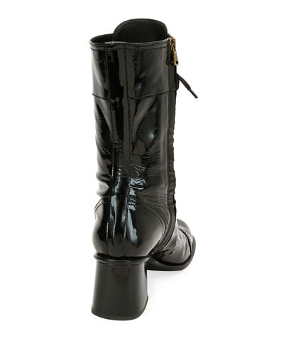 Glossy Patent Lace-Up Boot
