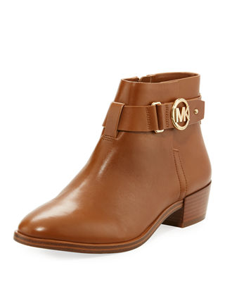 Harland Vachetta Leather Logo Bootie by Neiman Marcus