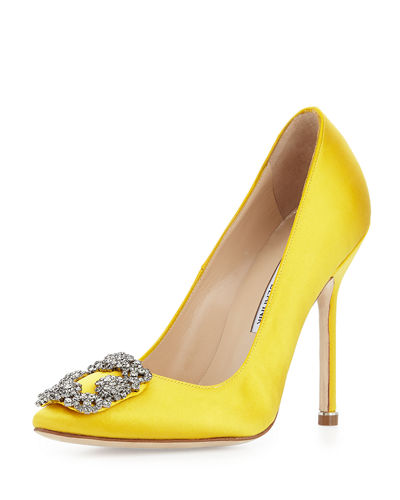 Hangisi Satin Crystal-Toe Pump