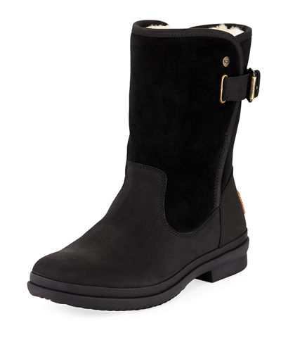 Oren Mixed Leather Weather Boot, Black