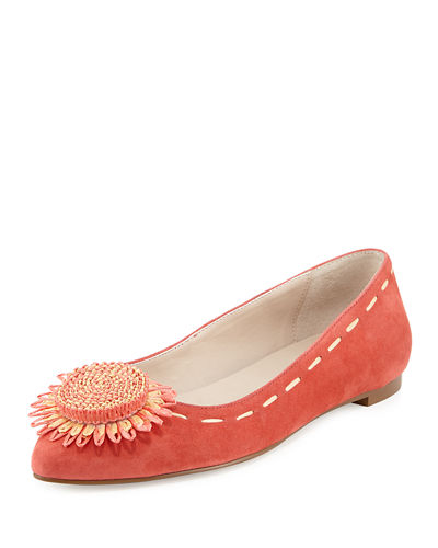 Bibbi Suede Flat with Flower