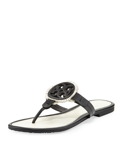 Tory Burch Miller Fringe Flat Leather Logo Sandal