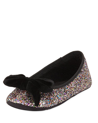 sussex velvet bow glittery ballet slippers