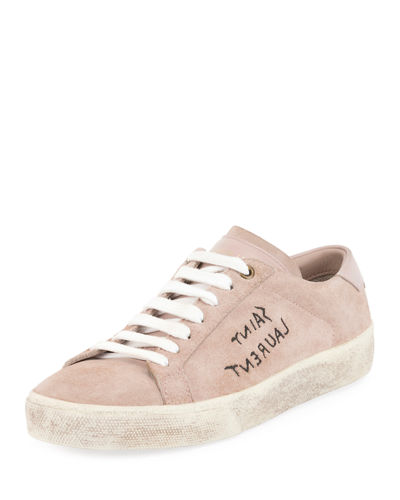 Logo-Writing Suede Low-Top Sneaker