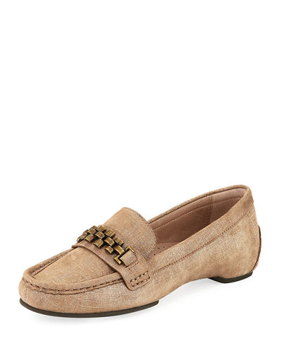 Fatema Chain Metallic Leather Loafer