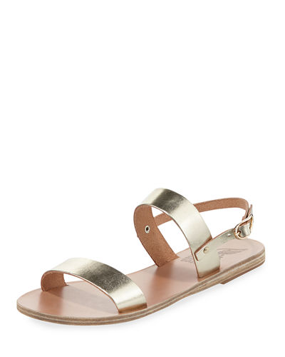 ancient greek sandals clio double band flat slingback sandal platinum leather modesens. Black Bedroom Furniture Sets. Home Design Ideas