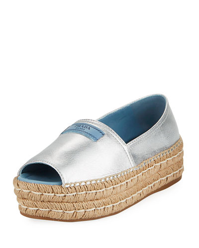 Metallic Double-Sole Espadrille Sandal