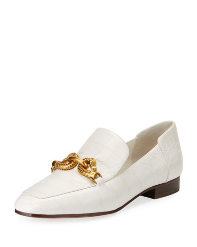 Jessa Horse Head Crocodile-Embossed Loafer