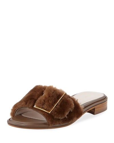 Fuzzywuz Buckle Fur Slide Sandal