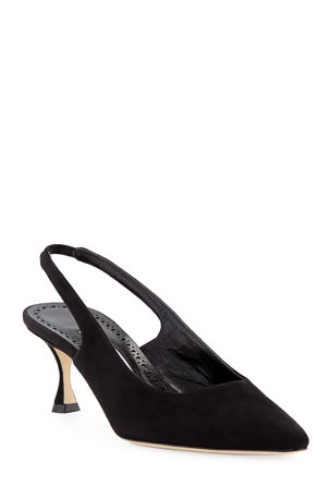 Manolo Blahnik Betty Suede Slingback Pumps