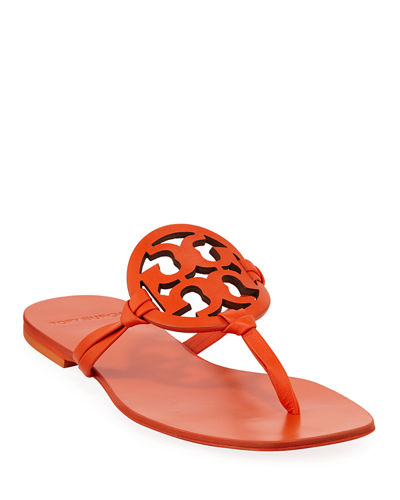 e37c88ee735c Tory Burch Miller Square-Toe Flat Slide Sandals from Neiman Marcus - Styhunt