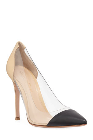 Gianvito Rossi Clear-Sided Leather Cap-Toe Pumps
