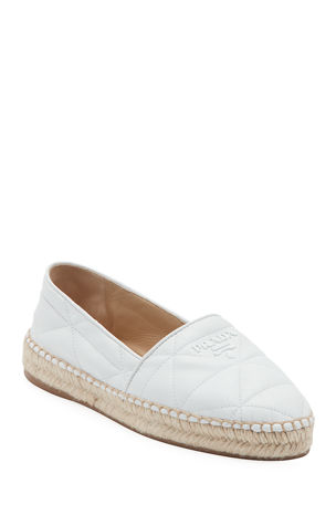 Prada Flat Quilted Leather Espadrilles
