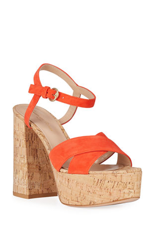 Gianvito Rossi Cork and Suede Ankle Sandals