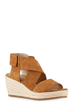 Eileen Fisher Willow Crisscross Suede Wedge Espadrilles