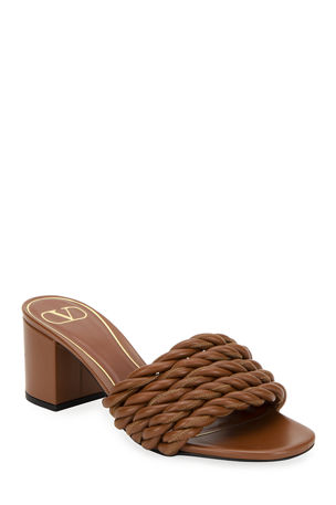 Valentino Garavani 60mm Napa Rope Slide Sandals