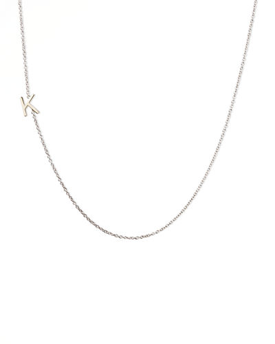 14k White Gold Mini Letter Necklace
