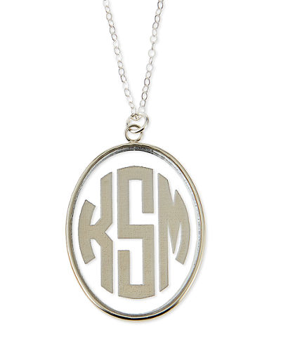 Vineyard Extra Large Acrylic Block Monogram Pendant Necklace