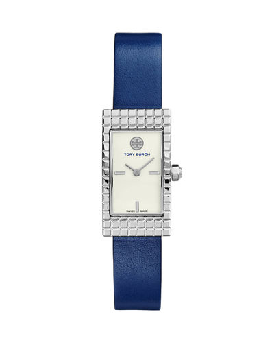 Tory Burch Watches Buddy Signature Stainless Leather-Strap Watch,