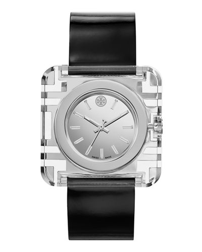 Izzie Leather-Strap Stainless Steel Watch, Black