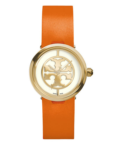 28mm Reva Leather-Strap Watch, Orange/Golden