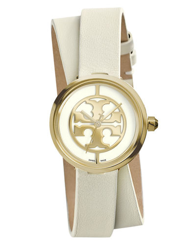 Tory Burch Watches Reva Double-Wrap Leather Watch, White/Golden