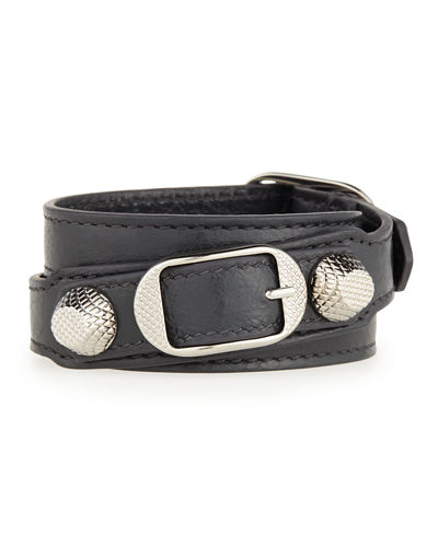 Balenciaga Giant 12 Leather Wrap Bracelet