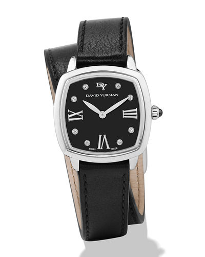 David Yurman 27mm Albion Diamond Leather Strap Watch