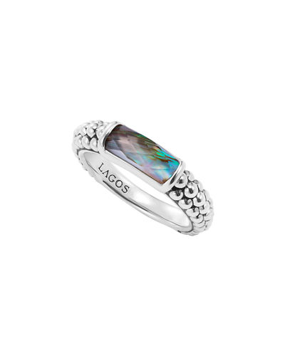 Silver Maya Doublet Stacking Ring, Size 7