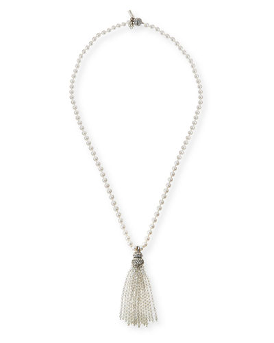 Oscar de la Renta Pearly and Crystal Tassel