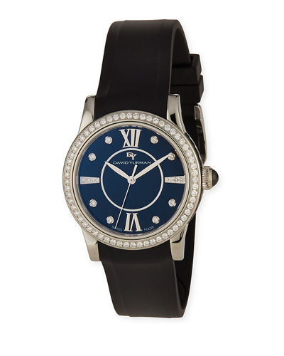 34mm Ceramic Diamond Watch w/Rubber Strap