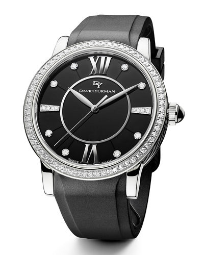 38mm Ceramic Diamond Watch w/Rubber Strap, 0.93 tdcw
