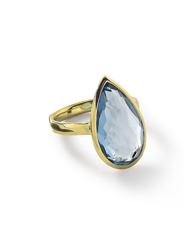 18k Rock Candy Single Medium Teardrop Ring in Rutilated Quartz