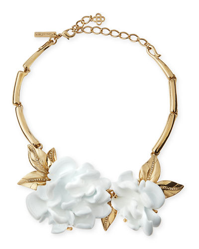 Golden Resin Flower Collar Necklace