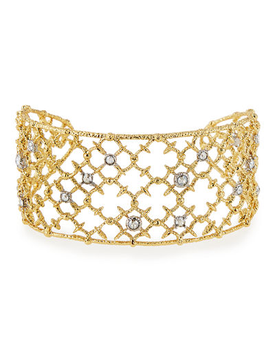 Crystal-Studded Wire-Lace Spur Cuff Bracelet