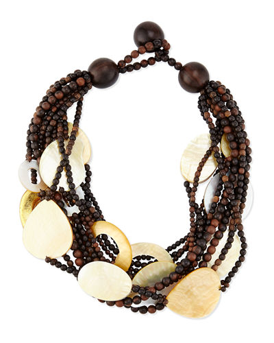 Multi-Strand Wood & Mother-of-Pearl Necklace, Golden