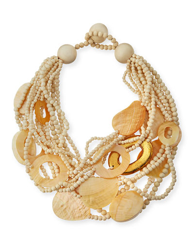 Multi-Strand Wood & Mother-of-Pearl Necklace