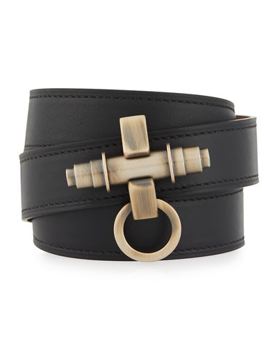 Givenchy Three-Row Obsedia Leather Wrap Bracelet