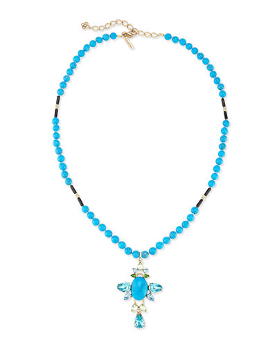 Oscar de la Renta Long Crystal Cross Pendant