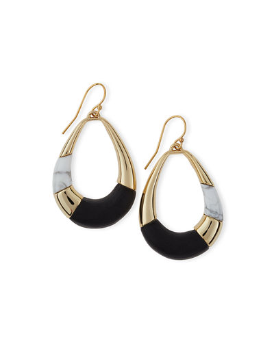 Alexis Bittar Lucite Colorblocked Teardrop Earrings, Black/Sunset
