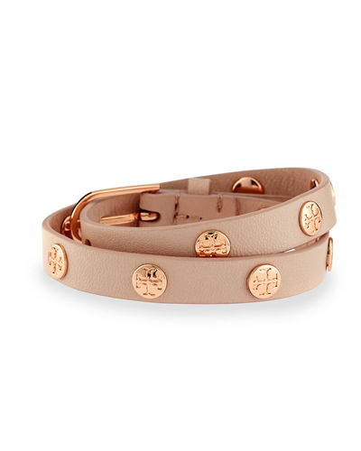 Leather Logo-Stud Double-Wrap Bracelet