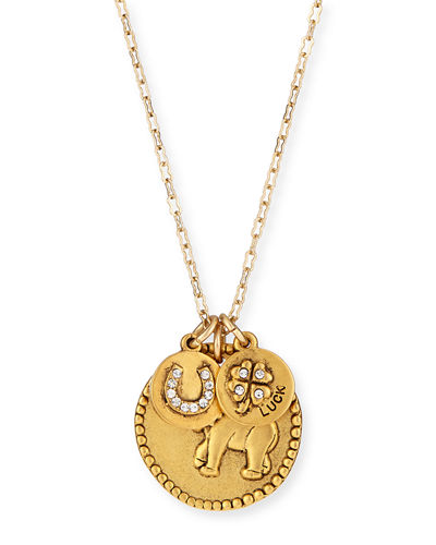 22K Gold-Plated Talisman Pendant Necklace, 36