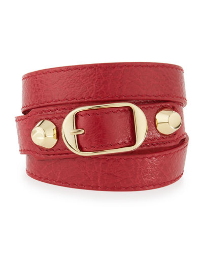 Balenciaga Classic Leather Wrap Bracelet