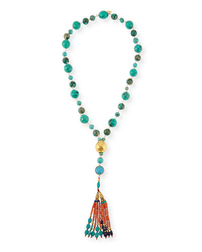 Devon Leigh Mixed Stone Tassel Pendant Necklace
