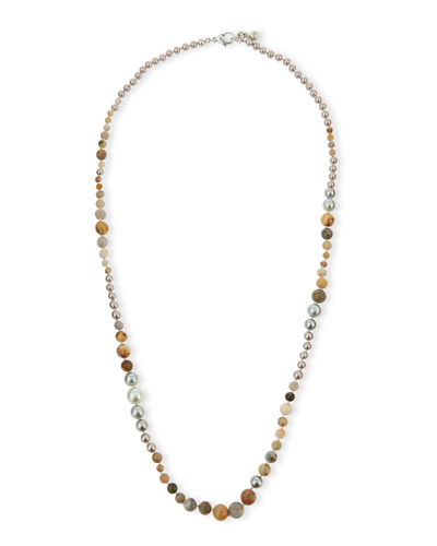 Long Glass Pearl Necklace
