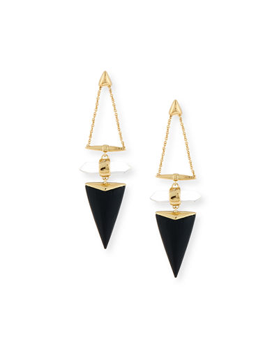 Faceted Rock Crystal Triangle Drop Earrings